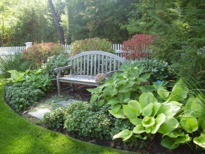 cement-benches-Landscape-Traditional-with-garden-garden-bench-ground-cover-hosta-Hydrangea-Landscape-lawn